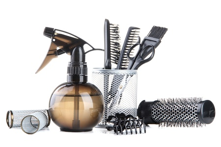 Professional hairdresser tools, isolated on white Zdjęcie Seryjne - 21622825