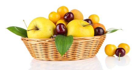 fructose: Bright summer fruits in basket isolated on white