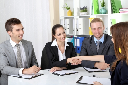Job applicants having interview Stock Photo