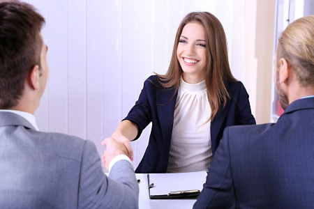 people at work: Job applicants having interview Stock Photo