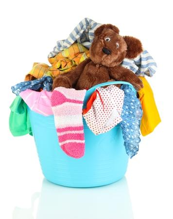 Blue laundry basket isolated on white Stock Photo - 21705015