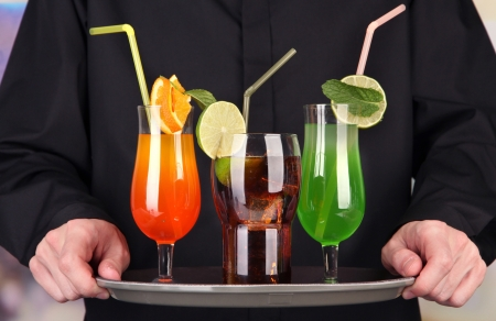 Bartender with different cocktails, close-up Stock Photo - 21705612