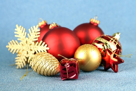 Christmas decorations on blue background photo