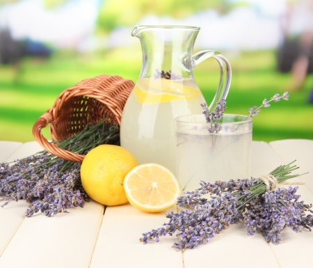 Lavender lemonade, on bright background photo