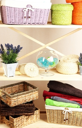 Beautiful white shelves with different home related objects, on color wall background Stock Photo - 21807599