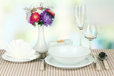 Beautiful table setting for breakfast photo