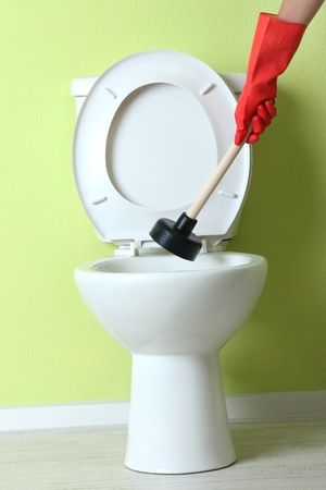 Woman Uses A Plunger To Unclog A Toilet Bowl In A Bathroom Stock ...