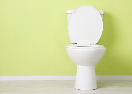 White toilet bowl in a bathroom Imagens - 21865158
