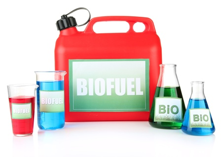 Bio fuels in canister and vials isolated on white photo