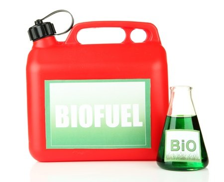 Bio fuels in canister and vial isolated on white photo