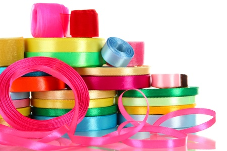 Many bright ribbons of different sizes isolated on white