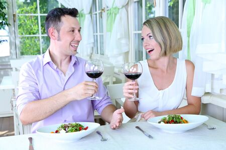 Beautiful couple having  romantic dinner at restaurant Stock Photo - 24367511