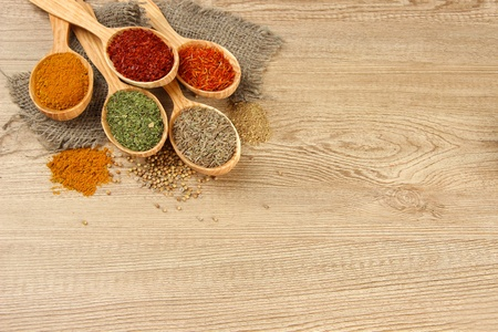 Assortment of spices in wooden spoons on wooden background photo