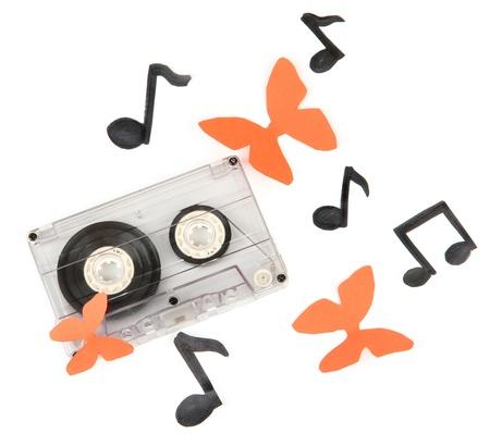 lyrical: Old cassette isolated on white