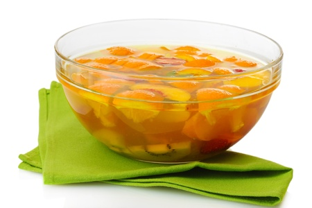punch in glass bowl, isolated on white photo
