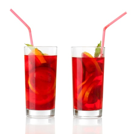 sangria in glasses, isolated on white Stock Photo