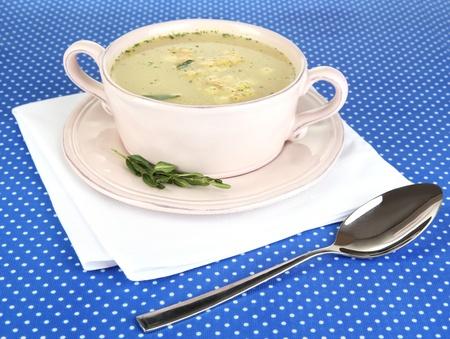 nourishing: Sopa nutritiva en el molde rosa sobre mantel azul close-up