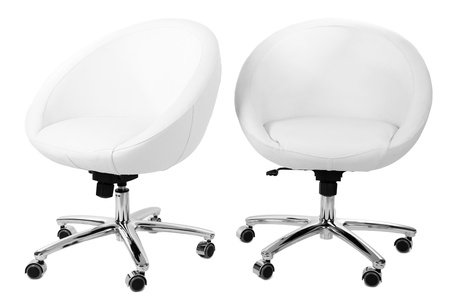 White chairs isolated on white photo