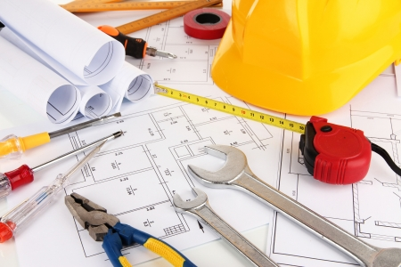building maintenance: Part of architectural project Stock Photo