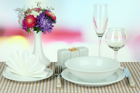 Beautiful table setting for breakfast Stock Photo - 22251280