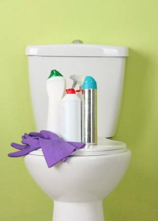 White toilet bowl and cleaner bottle in a bathroom Stock Photo - 22251737