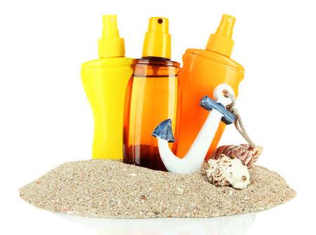 Bottles with suntan cream, isolated on white Stock Photo