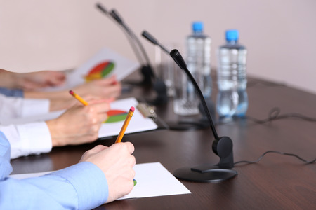 Conference meeting   with microphones photo
