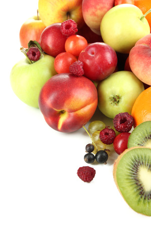 Assortment of juicy fruits, isolated on white photo