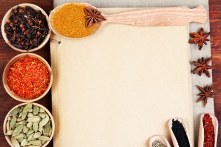 Various spices and herbs with empty white blank for recipe photo