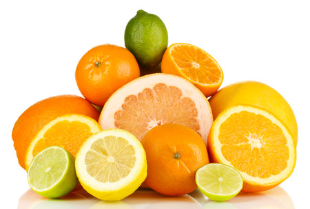 health food: Lots ripe citrus isolated on white