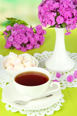 Beautiful bouquet of phlox with cup of tea on table on light background Stock Photo - 22322842