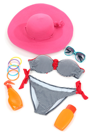 bathing   suit: Swimsuit and beach items isolated on white