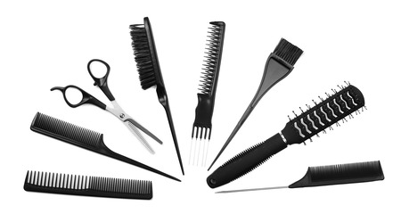 dyed hair: Professional hairdresser tools isolated on white Stock Photo