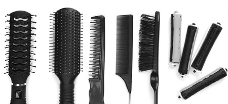 Professional hairdresser tools isolated on white photo