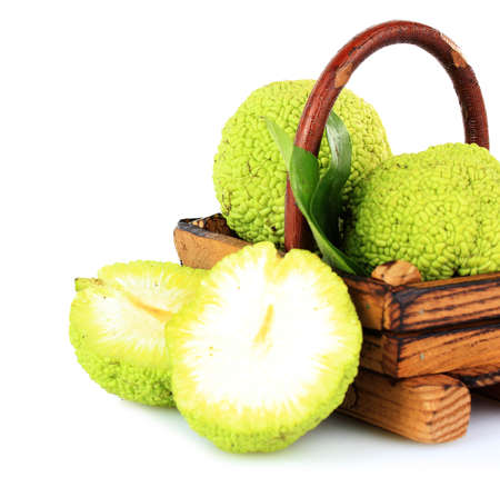 Osage Orange fruits (Maclura pomifera) in basket, isolated on white Stock Photo - 22353156