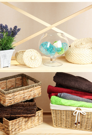 Beautiful white shelves with different home related objects, on color wall background Stock Photo - 22455644