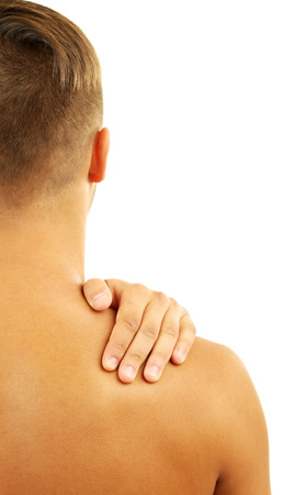 Young man with neck pain, isolated on white photo