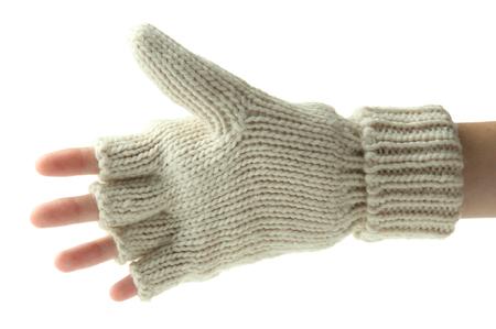 fingerless gloves: Hand in wool fingerless gloves, isolated on white Stock Photo