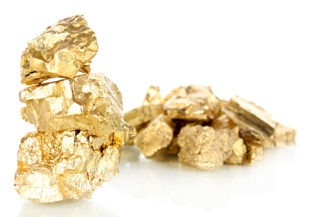Golden nuggets isolated on white photo