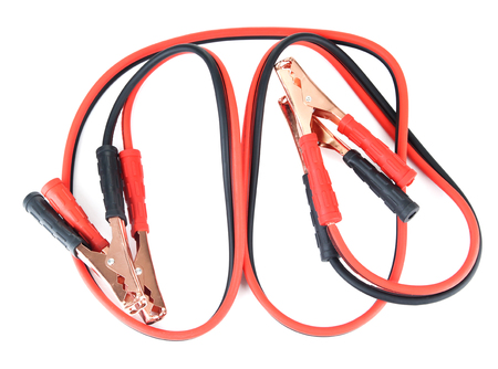 Car battery jumper cables isolated on white photo