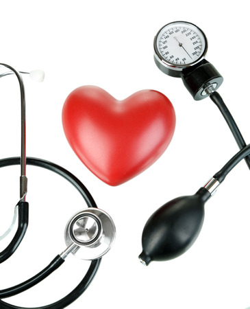 Tonometer, stethoscope and heart isolated on white Stock Photo - 22797171