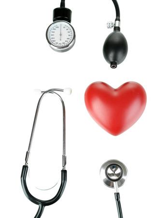 Tonometer, stethoscope and heart isolated on white Stock Photo - 22797169