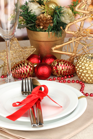 Serving Christmas table close-up photo