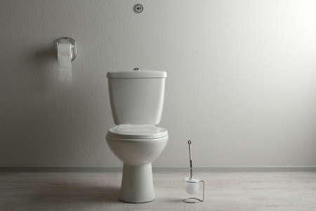 bowl water: White toilet bowl in a bathroom