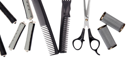 Professional hairdresser tools isolated on white Stock Photo - 22587042