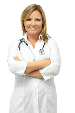 Young beautiful doctor with stethoscope isolated on white photo