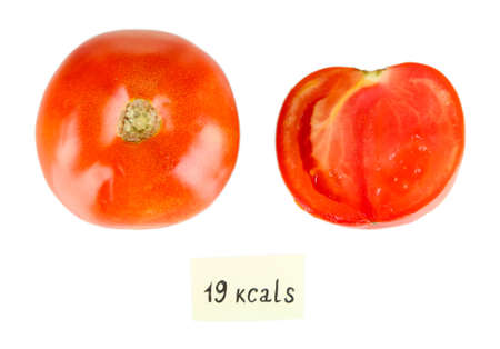 calorie: Calorie content of tomato isolated on white
