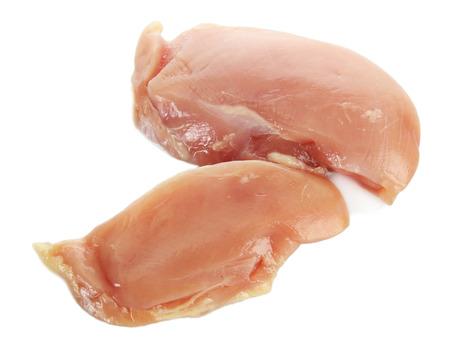 seni: carne di pollo crudo, isolato su bianco Archivio Fotografico