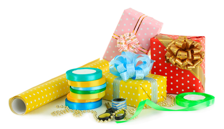 Materials and accessories for wrapping gifts isolated on white photo