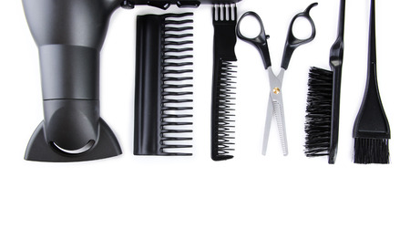 Professional hairdresser tools, isolated on white Stock Photo - 22690172
